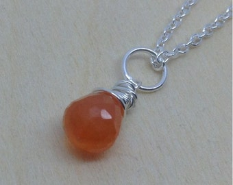 Bright Orange Carnelian Pendant, Carnelian Necklace, Carnelian Briolette,  8mm, Natural Carnelian Gemstone, Sterling Silver, Gold Filled