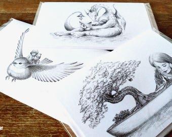 3 PACK - Postal de Felicitación - Ilustración de Fantasía - Pájaro - Dragón - Árbol Bonsai