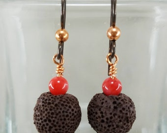 Lava Bead Diffuser Earrings with Red Coral