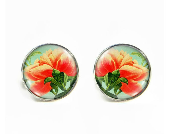 Peony Underside small post stud earrings Stainless steel hypoallergenic 12mm Gifts for her