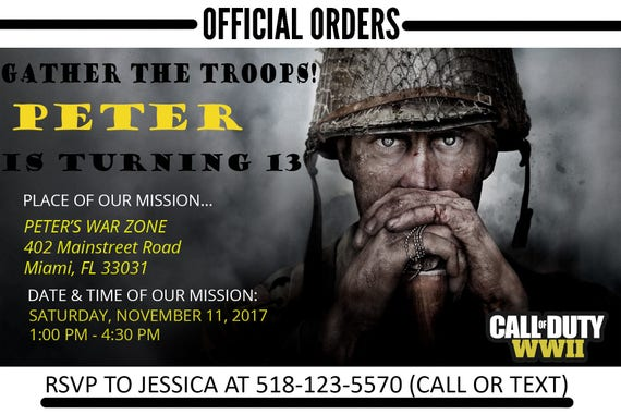 Call of duty wwii birthday invitation personalized print call of duty wwii birthday invitation personalized print invitation call of duty birthday party call of duty birthday theme cod party filmwisefo Image collections