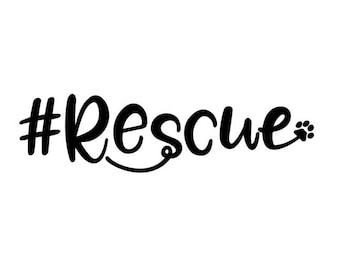 Hastag #Rescue Dog Car Decal / Sticker