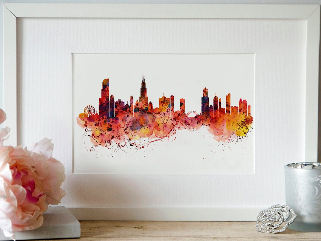 Chicago watercolor skyline wall art city art skyline painting for Chicago mural artist