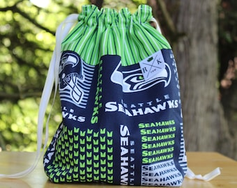 12th Man Seattle Seahawk, Gifts for Football Lovers Knitting Project Drawstring Bag, Yarn Holder, Gifts for Knitters, Gifts for Crocheters