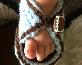 Crocheted Sandals with Football Buttons for Little Boys