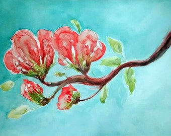 watercolor Vermilion Blossoms by CheyAnne Sexton ORIGINAL watercolor bright  9x12
