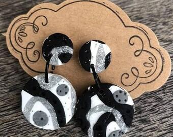 black, white, Silver Dangles