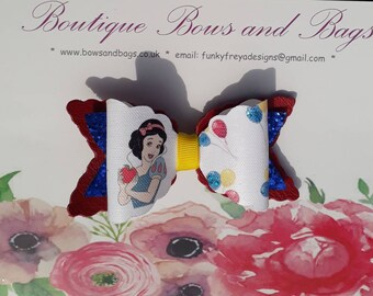"4"" Snow White layered hairbow clip"
