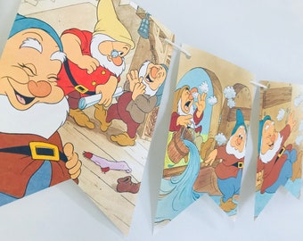 Welcome Back Snow White *A* Story Book Pages Bunting Pennants Nursery Decor Baby Shower Birthday Party Garland Flags