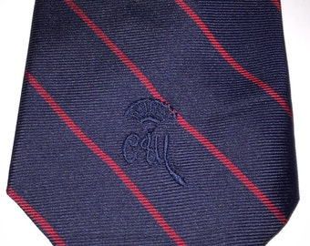 Vintage Countess Mara tie, Necktie  dark navy w/ burgundy thin slant diagonal stripe CM Embroidered Logo