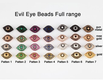Evil eye beads,  Micro Pave Beads / CZ Bead / Clear Cubic Zirconia beads , Men Bracelet Charms, Bracelet Charms,20mm,1pc