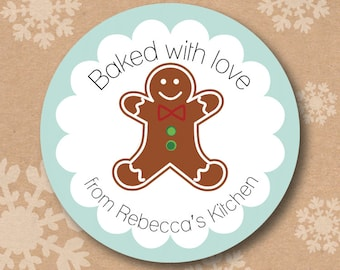 From the Kitchen of Stickers Baked with Love Treat Labels Personalized Christmas Tags for Baked Goods