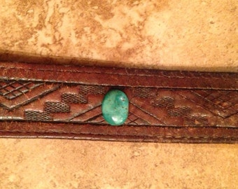 Leather Bracelet With Authentic Turquoise Stone