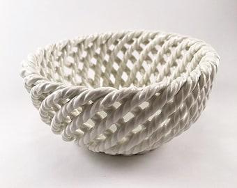 White Lattice Small Porcelain Bowl - Spain - Vintage