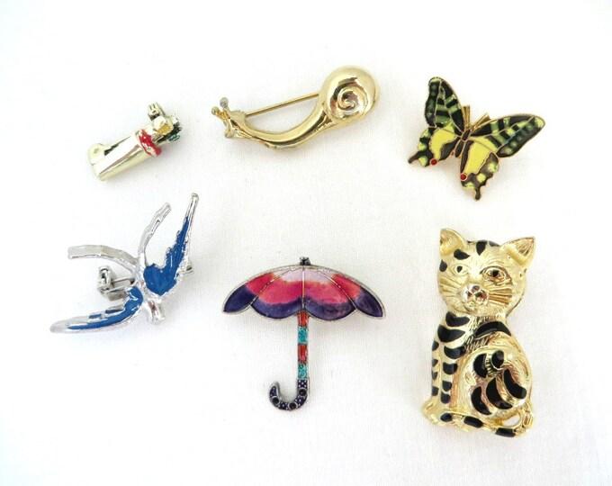 Vintage Enameled Mini Pins, Six Pin Lot, Arrows, Butterfly, Bird, Snail, Cat, Umbrella Pins