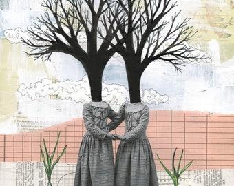 Surreal Art Printable - Weird Wall Art , Dusty Pink Artwork , DIY Modern Tree Art