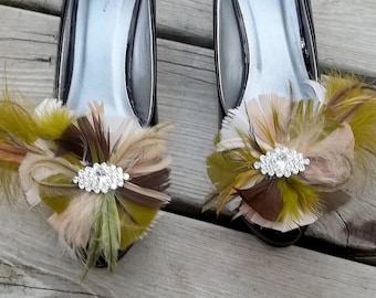 Wedding Shoe Clips, Camouflage Feather Shoe Clips, Bridal Shoe Clips, Army Green Shoe Clips, Shoe Clips for Wedding Shoes Bridal Shoes