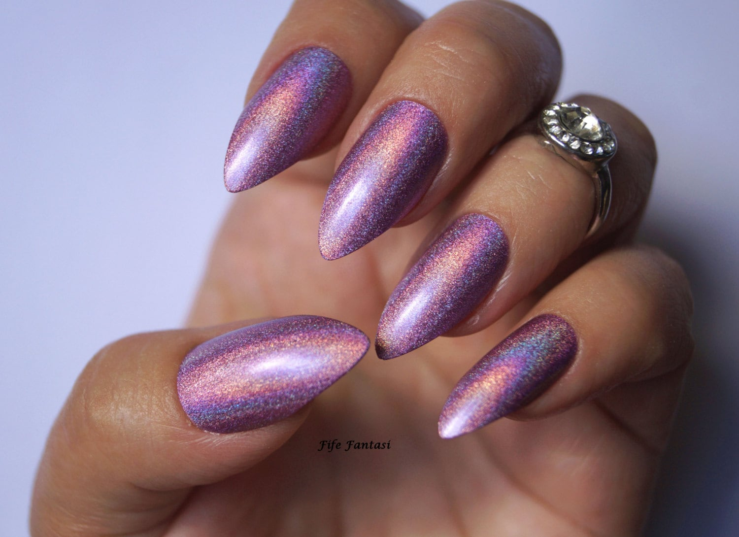 Holographic stiletto nails , Holographic nails, Purple nails, Fake ...
