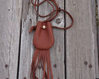 Leather amulet bags with fringe , Leather necklace bag with fringe , Ready to ship leather medicine bag , Leather crystal bag