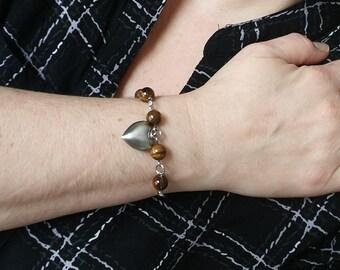 Tiger eye bracelet to achieve its goals, tiger eye bracelet, heart bracelet, fine stone bracelet, tiger eye jewelry, gift