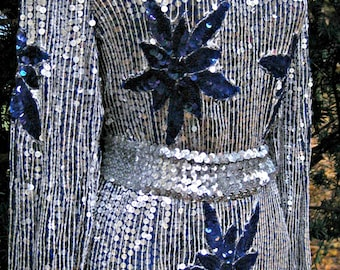 Medium 80s prom SILVER indigo blue violet dress, Sequined cocktail party dress Sequined Light Weight Spring Silver 1980s prom dress