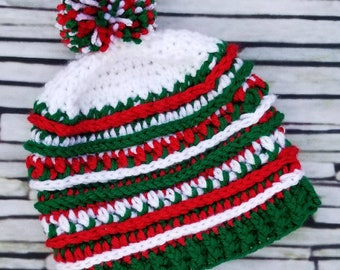 Italy - Mexico - Olympics beanie - Country color hat - red white green - crochet beanie - team - customize  - Italian - Mexican