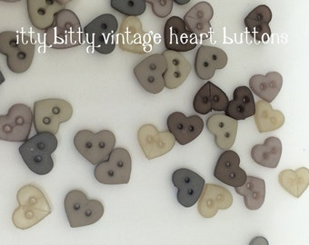 Hearts button pack, tiny heart buttons,itty bitty buttons, vintage heart buttons, linen look buttons, small buttons