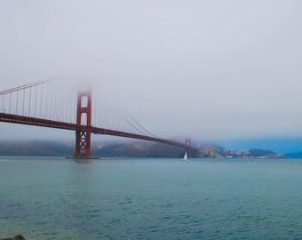 Foggy Golden Gate Bridge Print, Landscape Photography, Wall Art