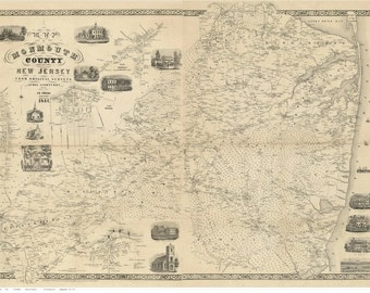 Monmouth County  New Jersey 1851 Old Wall Map  -  Reprint with Homeowner Names