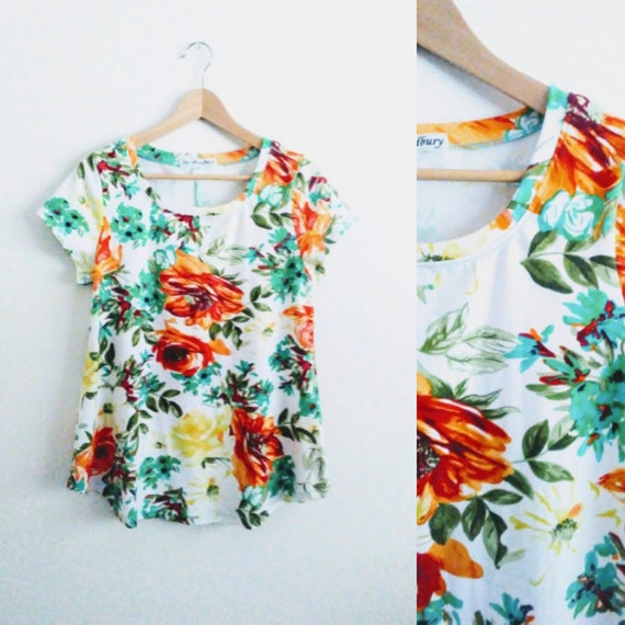 Women's White Floral Swing Top flower print botanical short sleeve blouse loose fit cotton shirt womens summer top - Made to Order