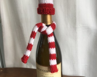Knit Hat and Scarf Wine Bottle Topper Set- Red & White Stripe, Holiday Decor, Hostess Gift, Wine Bottle Holiday Decor, Wine Bottle Scarf
