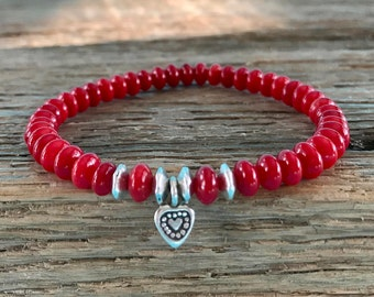 Red coral bracelet Karen Hill Tribe silver heart silver plated beads boho jewelry stretch bracelet stackable bracelet boho bracelet gemstone