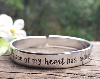 Memorial Cuff Bracelet | Remembrance Cuff | Sympathy Gift For Loss Of Loved One | A Piece Of My Heart Has Wings ™