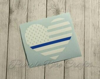 Thin Blue Line Flag Heart Decal, Sticker