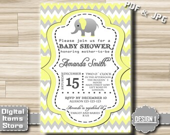 Baby Shower Invitation Elephant - Baby Shower Invitation Chevron - Baby Shower Invites - Elephant Printable, Digital File, DIY, Custom
