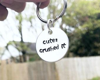 Cute: Crushed It Dog Tag - Funny Dog Tag - Dog ID Tag - Pet Tag - Funny Pet Tag - Funny Dog ID Tag - Custom Dog Tag