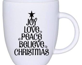Joy, Love, Peace, Believe, Christmas Tree | Decal | Car | Laptop | Wine Glass | Sticker