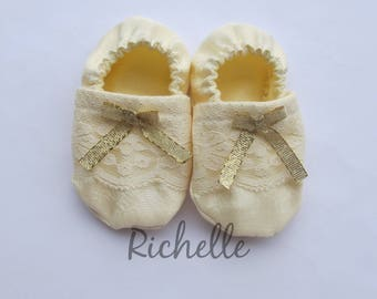 Ivory Gold Lace Baby Girl Shoes Baptism Blessing Christening Cream Off White Dressy Shimmery Soft Sole Crib Shoes Outfit, Infant Toddler
