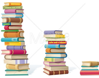 Book Stacks - Vector Cartoon Illustration. books, stack, stacks, heap, pile, tall, high, tower, collection, library, bookstore,