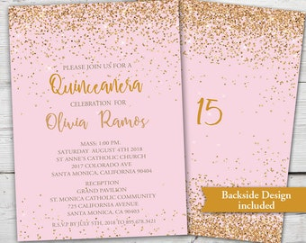 Pink and Gold Quinceanera Invitation, Quinceanera Invites, Gold and Pink Quince Invites, Pink Quinceanera Invitation, Quinceañera Invite