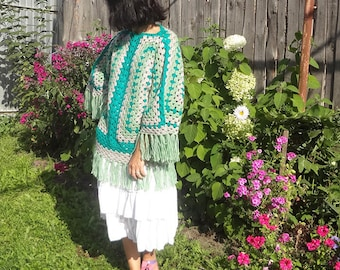Granny Square Crochet Sweater Long Sleeve Women Jumpers Knitted poncho with sleeve< boho ponchos, warm poncho crocheted poncho.