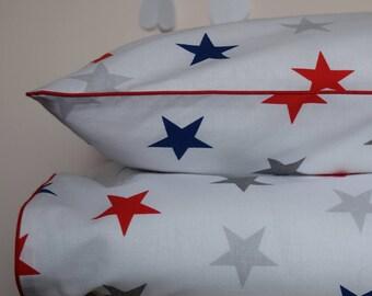 100% COTTON Children Single bedding Set Boys Grey Navy Red White Stars reversible bedding  red piping
