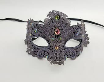 LUXURY Gray Lace Mask with crystals, New Years Mask, Halloween Mask, Venetian Mask, Masquerade ball mask, 50 shades, party mask, prom mask
