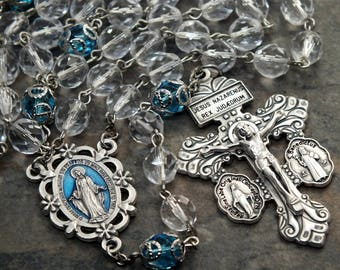 Czech Glass Rosary in Clear and Aqua, Miraculous Medal Rosary, Mary Rosary, Pardon Crucifix, 5 Decade Rosary, Catholic Rosary
