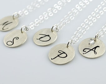 """Monogram Initial Necklace - 5/8"""" Hand Stamped Sterling Silver Disc"""