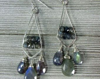 Labradorite & Sterling Silver Hand forged Earrings