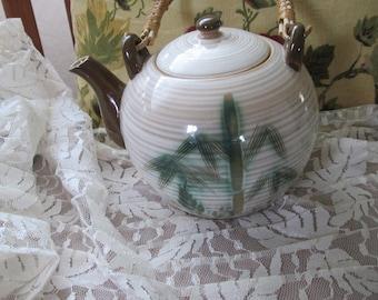 Vintage Bamboo Handled Tea Pot