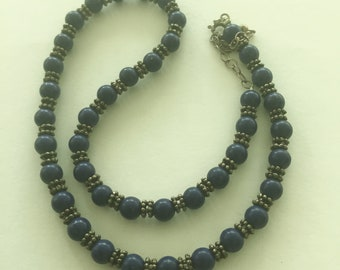 Vintage LAPIS 925 Silver Beaded Necklace