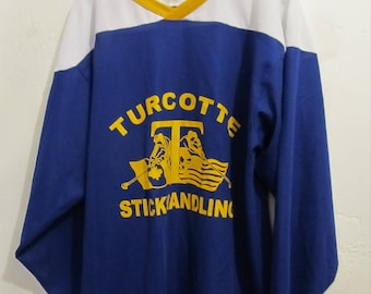 A SPORTY,Vintage 80's,Tri-Colored,V Neck Ice HOCKEY SCHOOL Jersey,From Canada.M