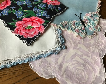 4 Vintage Hankies~Handkerchiefs~Hanky Lot~Embroidered Printed Crocheted Butterfly~Floral~Crochet~Blue Pink Black